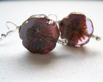 Purple Blossom Earrings. Dainty Flower Earrings. Sterling Silver Earrings. Floral Earrings. Wedding Earrings. Gift for Her. Under 15. UK