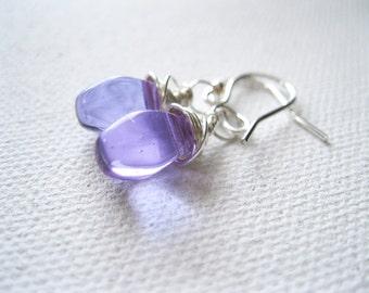 Lavender Purple Sterling Silver Earrings. Teardrop Earrings. BrioletteEarrings. Wire Wrapped Earrings. Wedding Earrings. Bridesmaid Gift