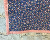 whole cloth quilt -- lap throw -- soft and colourful -- periwinkle calico -- organic cotton