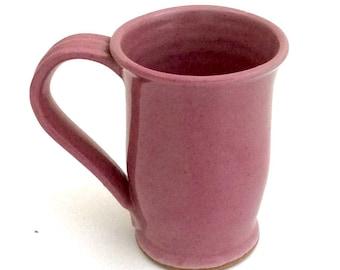 Wheel Thrown Pink Mug Stoneware Clay Pottery