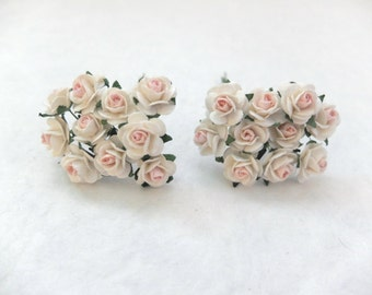 20 cream pale pink roses (15mm) - paper flowers - paper roses