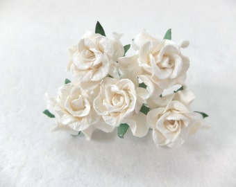 5 30mm off white mulberry paper gardenia - cream paper flowers