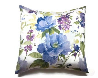 Decorative Pillow Cover Delicate Floral Design Shades of Blue Yellow Purple Olive Green White Same Fabric Front/Back Accent 18x18 inch x