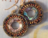 Beaded Earrings - Small Abalone Shell Seed Bead Hoop Earrings - Handmade Beadwork Jewelry