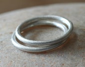 Stacking Rings Sterling Silver, Brushed Finish Rings, Set of 2 Rings, Size 2 to 15, Gifts for Her, Unisex Rings, Stack Rings,Solitaire Rings