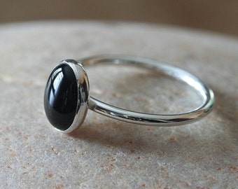 Oval Black Onyx Ring 7 x 9 mm in Sterling Silver, Size 2 to 15.5, Stacking Ring, Gift for Her, Womens Ring, Onyx Jewelry, Black Ring