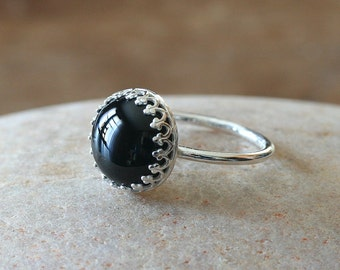 Black Onyx Ring 12 mm in Sterling Silver Gallery Bezel, Crown Princess Setting, Black Onyx Gemstone Ring, Womens Ring, Size 2 to 15, Round