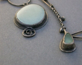 pale mint seafoam green pastel pendant charm collage necklace oxidized sterling silver statement artisan