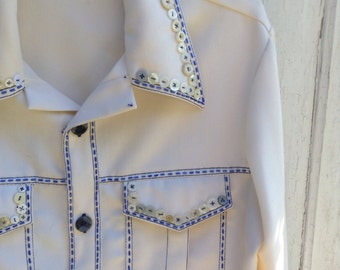 Vintage L XL Jacket Beaded Vintage Buttons Quilt Square Embellished Hand-Sewn Quilter Gift Altered Couture