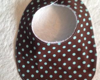 Brown and aqua dots drool  bib