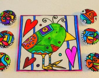 Whimsical wacky LOVE bird Valentine hand painted tile