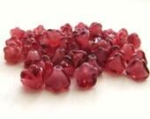 Fuchsia Cranberry Pink Czech Glass Baby Bell Flowers, 6mm x 5mm - 50 pieces