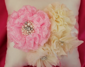Cream or White Ring Bearer Pillow- Lace Pink Flower Mixed Cream Chiffon Flowers  Accented with Rhinestones and Pearls