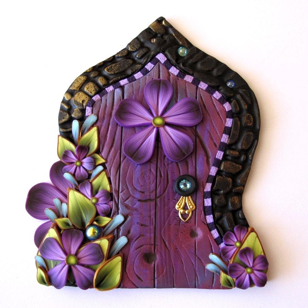 Purple fairy door pixie portal fairy garden decor miniature for Purple fairy door