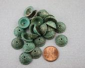 Vintage Metallic Plastic Caps with Patina