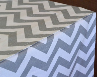 DESIGNER Dog Crate Cover - YOU Choose Fabric - Zig Zag Chevron in Ash Grey/White shown