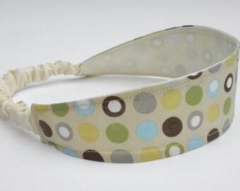 Polka Dot Headband, Retro Head Band, Wide Headband, Fabric Headband, Soft Headband, Elastic Headband, Flexible Headband, Beige Headband