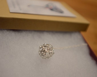 Silver Wire Ball Necklace - SALE 50% Off