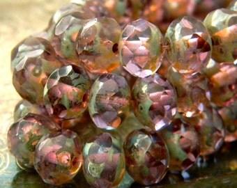Lavender Mint (10) -Czech Glass Rondelles 8x6mm