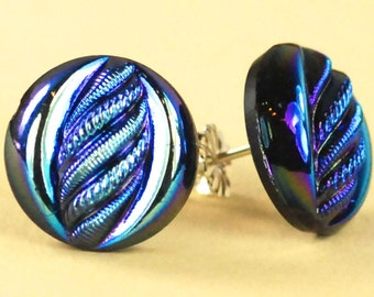 Vintage Blue and Black Swirl Czech Glass Post Earrings - Limited