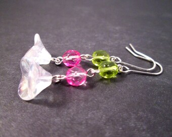 Snow Flower Earrings, White Pink Green and Silver Dangle Earrings, FREE Shipping U.S.