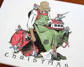 Poodle Santa with Elves - set of 5 Humorous Greeting Cards