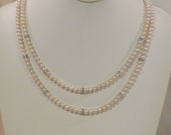 Double Strand Natural Freshwater Pearl Necklace with Rhinestones