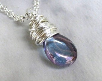Blue Amethyst Glass Pendant, Silver Rollo Necklace w/Handmade Clasp... Wire Wrapped Purple Blue Smooth Glass Briolette