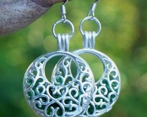 Recycled Vintage 1960's Green Beer Bottle Filigree Hoop Earrings