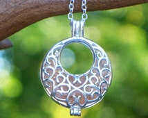 Recycled Antique Pink Depression Glass Filigree Hoop Necklace