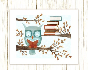 owl art print -- The Bookish Forest: Owl - childrens art illustration nursery print cute and whimsical woodland forest
