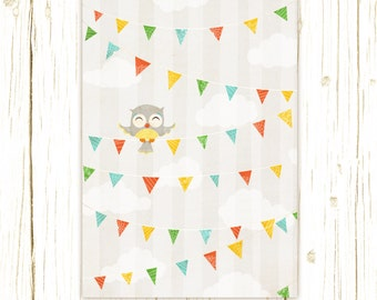 Owl Art Print - Owl Party Print - bird art, Nursery art prints, baby nursery, nursery decor, nursery wall art, kids art
