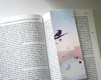 Bird and wind - illustrated bookmark