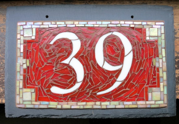 Mosaic House Number on Slate  2 digit 12x8 inches