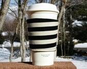 Fabric coffee cozy / cup sleeve / coffee sleeve / coffee cup holder - Jail Break in Black and Cream