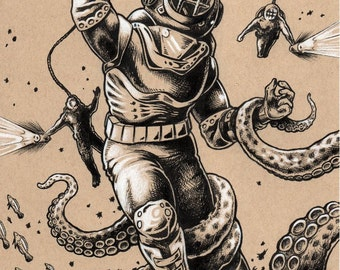 Danger Dive scuba diver pen and ink illustration art print by Bryan Collins