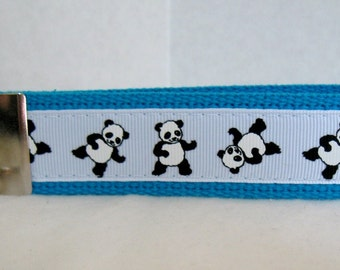 Panda Key Fob - Tumbling Bear Key Chain  - Pandas Keychain - TURQUOISE