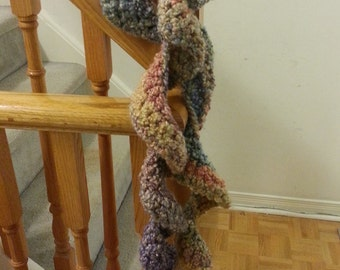 Crochet Curly Scarf - Multi Color