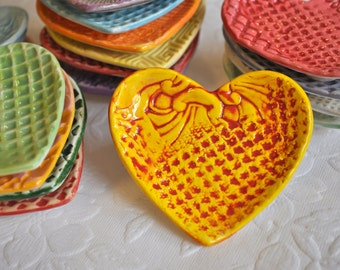 Have a Heart - Small Heart Shaped Trinket Dish/ Ring Dish in Saffron Yellow and Deep Red