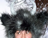 Gray black Monster Wild Thing Hat Feather Fur Woodland Beast Geek Fur Hat Adult L XL Fetish Horn Imp Satyr Yak Hat