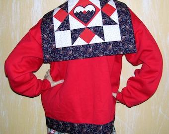 Patchwork Cardigan Sweater Vintage Vtg Red Heart Quilt Sweatshirt Hand Made Jacket Geek Teacher Valentine's Day Calico Jacket Adult L XL