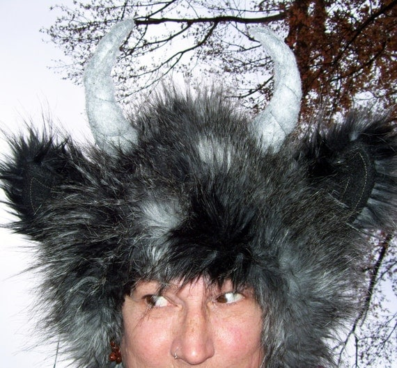 Gray black Monster Wild Thing Hat Feather Fur Woodland Beast Geek Fur Hat Adult L XL Fetish Horn Imp Satyr Yak Hat