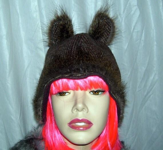 Nutria Fur Hats Wool Tweed Fur Hat Real Nutria