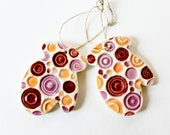 Pink and Orange Polka Dot Clay Mittens, Set of Two, Tree Decoration Ornaments