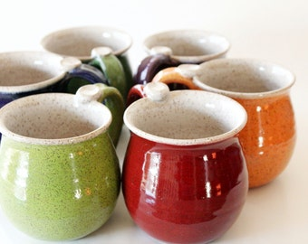 Speckled Mug - Colorful Cup - Glazed in your Choice of Exterior Color - 4 week wait