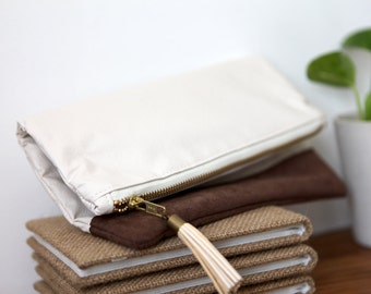 Off White Two-Tone Fold Over Clutch with Beige Tassel