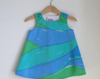 Blue & Green Modern Waves Seashore Dress, Newborn, Baby Girls, Toddler Girls Dress - Size Newborn to Girls size 6 - Beach Dress, Seashore