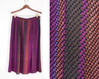 Vintage 70s Colorful Snake Print High WaistedvMidi Skirt - Size 14 - Violet Orange and Brown Striped Long Women's Skirt - 32 Waist