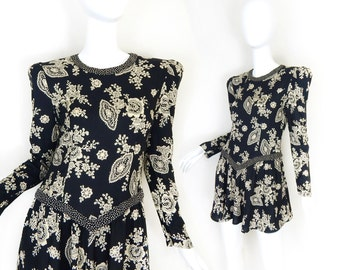 Vintage 80s Puff Sleeve Mini Dress - Size Small - Black and White Paisley Floral Print Rayon - Size 6