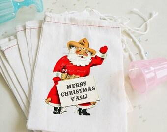 "Texas Christmas Favor - Goodie Bag - ""Merry Christmas Y'all"" - Childrens Party Santa Cowboy - Vintage Custom 4X6 10 count or 6X8"